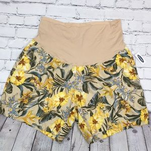 Old Navy Shorts Linen Floral Pockets NWT